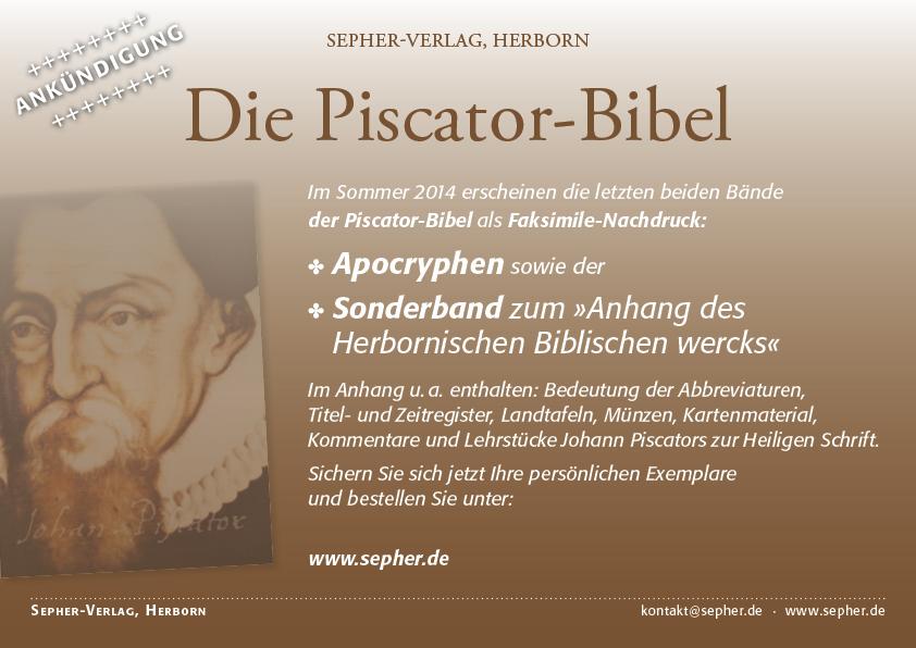 Piscator-Bibel Flyer Apokryphen und Sonderband zum Anhang